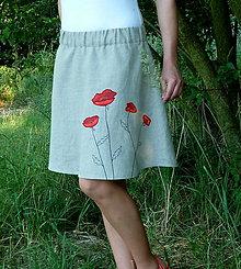 Sukne - Maky na ľanovej sukni - 8304806_