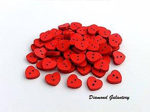 Galantéria - Drevený gombík srdiečko červené - 12 mm - 8304818_