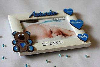 Detské doplnky - Fotorámik macík s údajmi o narodení - 8303321_