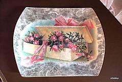 Nádoby - sklenená tácka Darček - 8303483_