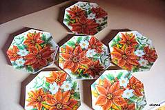 Nádoby - sklenený tanierik Vianočná ruža - 8303487_