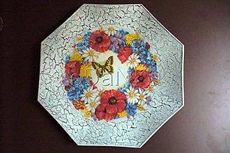 Nádoby - sklenený tanier Poľné kvietky - 8303496_