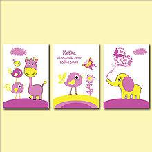 Detské doplnky - Fialovo žlté séria personalizovaných obrazov do detskej izby pre dievčatko - 8303433_