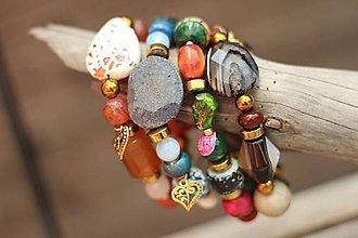 Náramky - Boho náramok z minerálov orange - 8302511_