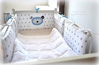 Textil - Mantinel hviezdičkový s mackom 60cm a 2x90cm - 8305270_