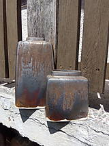 Dekorácie - Váza zlatobronzová, hranatá