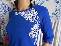 Tričká - BLUE & BEIGE FOLK - tričko maľované - 8306732_