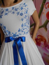 Šaty - FLORAL FOLK - bambusové šaty ľudové maľované s kruhovou sukňou a vačkami - 8306892_