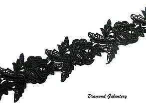 Galantéria - Krajka ruže čierne - cena za 10 cm - 8306305_