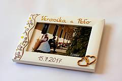 Rámiky - Biely svadobný fotorámik čipka - lišta 3 cm - 8305636_