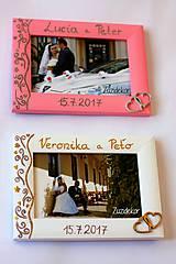 Rámiky - Ružový svadobný fotorámik čipka - lišta 3 cm - 8305642_