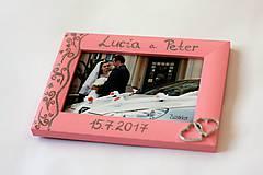 Rámiky - Ružový svadobný fotorámik čipka - lišta 3 cm - 8305643_
