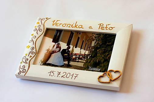 Biely svadobný fotorámik čipka - lišta 3 cm
