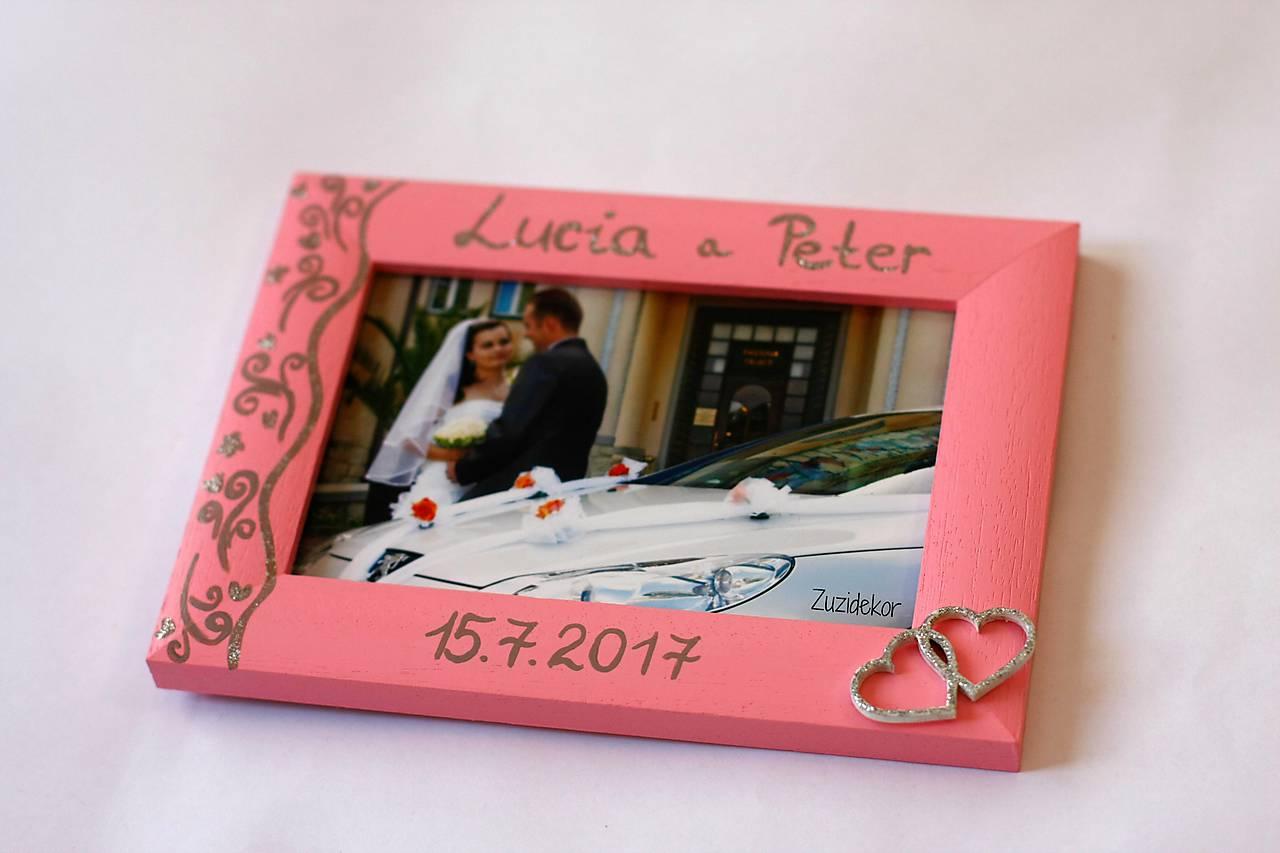 Ružový svadobný fotorámik čipka - lišta 3 cm
