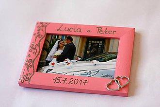 Rámiky - Ružový svadobný fotorámik čipka - lišta 3 cm - 8305640_