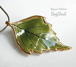 Náhrdelníky - keramický šperk ...Lístoček z brezy... - 8305444_