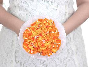Kytice pre nevestu - Saténová kytica svadobná oranžová VÝPREDAJ! - 8305748_