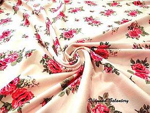 Textil - Úplet ruže na krémovom - cena za 10 cm - 8309342_