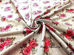 Textil - Úplet ruže na šedom - cena za 10 cm - 8309359_