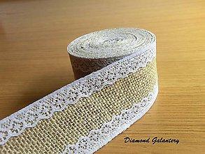 Galantéria - Jutová stuha s polyesterovou krajkou - vzor III - 8309660_