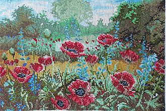 Dekorácie - Vyšívaný obraz_Vlčie maky - 8308389_