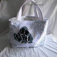 Kabelky - Tyrkysová látková taška s umelými kvetmi - 8309172_