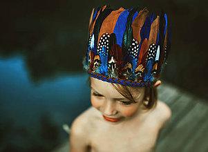 Ozdoby do vlasov - Modrá pierková čelenka - 8309125_