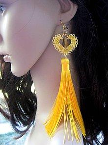 Náušnice - Veľké srdcové náušnice (zlato-žlté s veľmi dlhými strapcami č.1015) - 8309432_