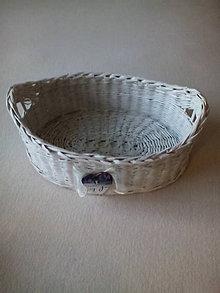 Košíky - Pletená ošatka oválna (biela) - 8309901_