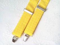 Doplnky - Bodkované pánske traky (žlté/biele bodky) - 8311331_
