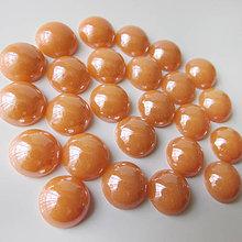 Komponenty - Sklenený perleťový kabošon / kruh 11-12mm (Losos) - 8310677_