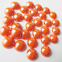 Komponenty - Sklenený perleťový kabošon / kruh 11-12mm (Pomaranč tmavý) - 8310684_