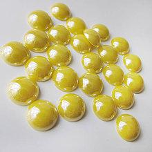 Komponenty - Sklenený perleťový kabošon / kruh 11-12mm (Kyslý citrón) - 8310723_