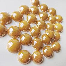 Komponenty - Sklenený perleťový kabošon / kruh 11-12mm (Khaki) - 8310724_
