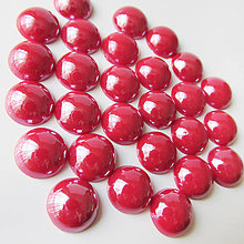 Komponenty - Sklenený perleťový kabošon / kruh 11-12mm (Višňa) - 8310757_