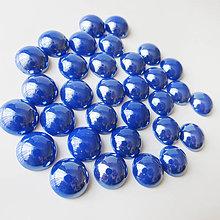 Komponenty - Sklenený perleťový kabošon / kruh 11-12mm (Kráľ.modrá) - 8310759_