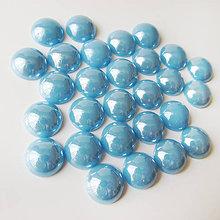 Komponenty - Sklenený perleťový kabošon / kruh 11-12mm (Blankyt) - 8310768_