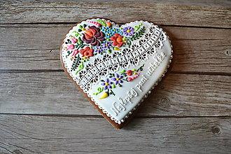 Dekorácie - Medovníkové srdce s ľudovým vzorom - 8312215_