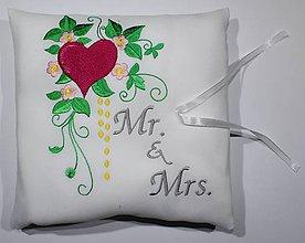 Prstene - Svadobný vankúšik na obrúčky Mr&Mrs - 8310224_