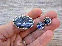 Sady šperkov - Tmavo modrá vlnkovaná sada č.1017 - 8312176_
