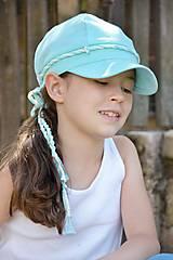 Detské čiapky - Ľanová šiltovka mentolová - 8310624_