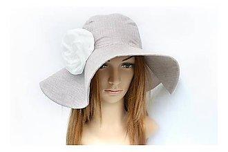 Čiapky - Dámsky klobúk s odopínateľným kvetom Sommer & coffee - 8312901_