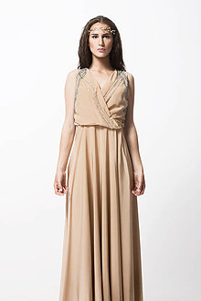 Šaty - Hodvábne mandlové šaty - 8310777_