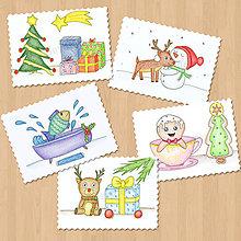 Papiernictvo - Výpredaj - kreslené vianočné pohľadnice - 8312960_