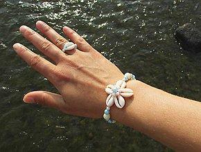 Iné šperky - Mušličkový náramok s prstienkom - 8311496_