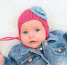 Detské čiapky - Bavlnená ušianka DŽÍNSOVÝ KVET - 8313561_