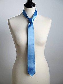 Doplnky - pánska saténová kravata modrá - 8314709_
