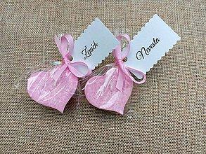 Darčeky pre svadobčanov - Svadobné menovky - ružové plávajúce sviečky - 8314115_