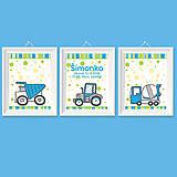 Modro zelené séria pre chlapčeka s nákladným autam, miešačkou a traktorom