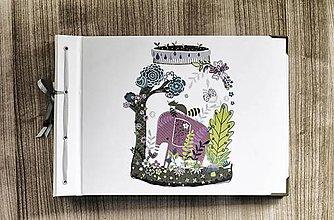 Papiernictvo - Fotoalbum klasický s autorskou ilustráciou ,,Ružový sloník,, - 8314049_